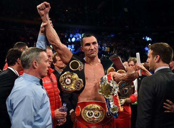 Wladimir Klitschko of the Ukraine celebrates his win over Bryant Jennings of the US after their World Heavyweight Championship boxing bout at Madison Square Garden in New York on April 25, 2015