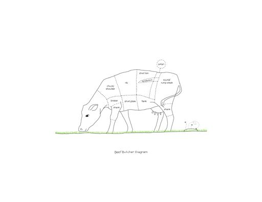 Beef Butcher Diagram by Johanna Kindvall, (for sale at the Shop, can also be customized... http://shop.johannak.com)