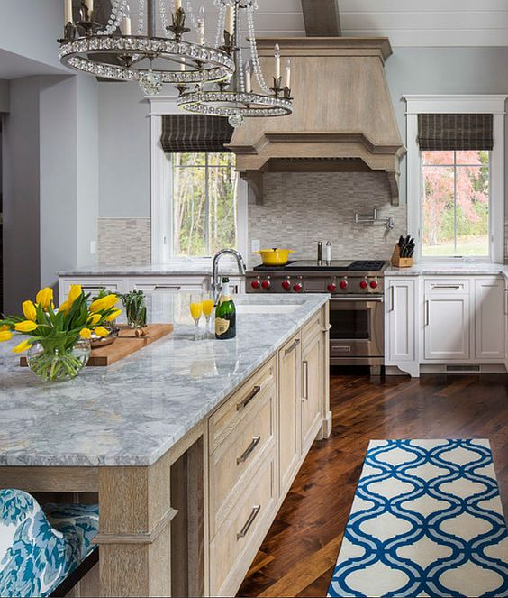 Oak Cabinets Kitchen Island Designs: Wirebrushed White Oak Island & Hood With Gray Stain
