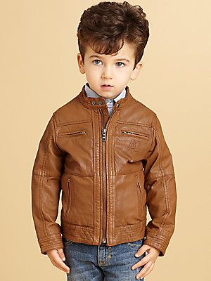 Armani Junior Toddler&39s &amp Little Boy&39s Leather Bomber Jacket