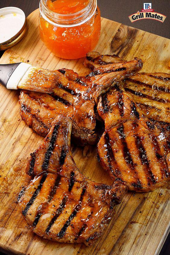 Bourbon Grilled Peach Pork Chops | Recipe | Peach Preserves, Bourbon ...