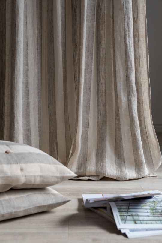 Beige Tab Top Washed Linen Curtain Panel With Stripe Linen