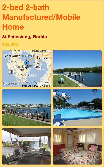 2-bed 2-bath Manufactured/Mobile Home in St Petersburg, Florida ►$52,000 #PropertyForSale #RealEstate #Florida http://florida-magic.com/properties/4578-manufactured-mobile-home-for-sale-in-st-petersburg-florida-with-2-bedroom-2-bathroom