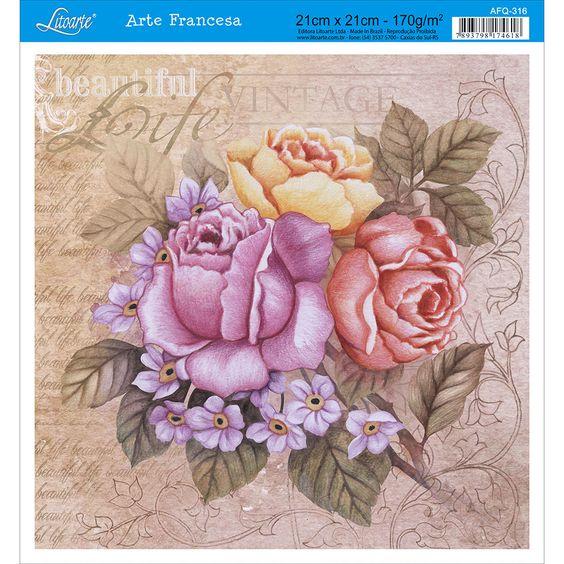 Papel para Arte Francesa Litoarte 21 x 21 cm - Modelo AFQ-316 Rosas Vintage - CasaDaArte