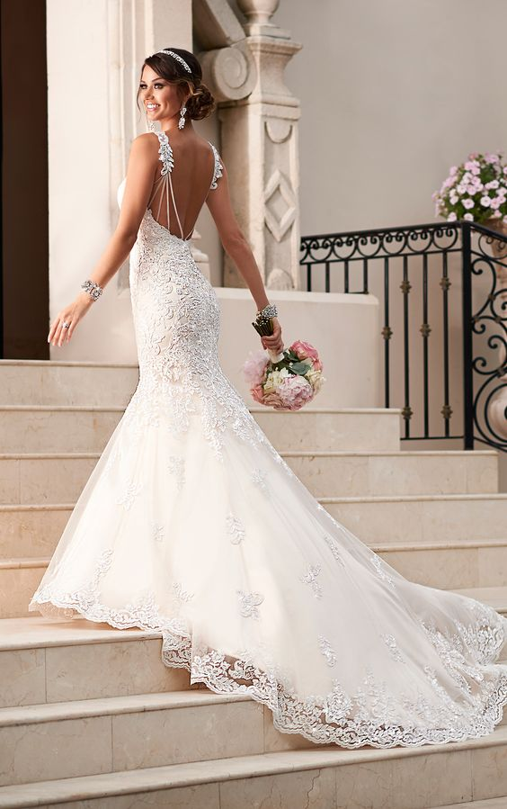 Satin lace fit and flare wedding dress wedding gowns for Satin fit and flare wedding dress