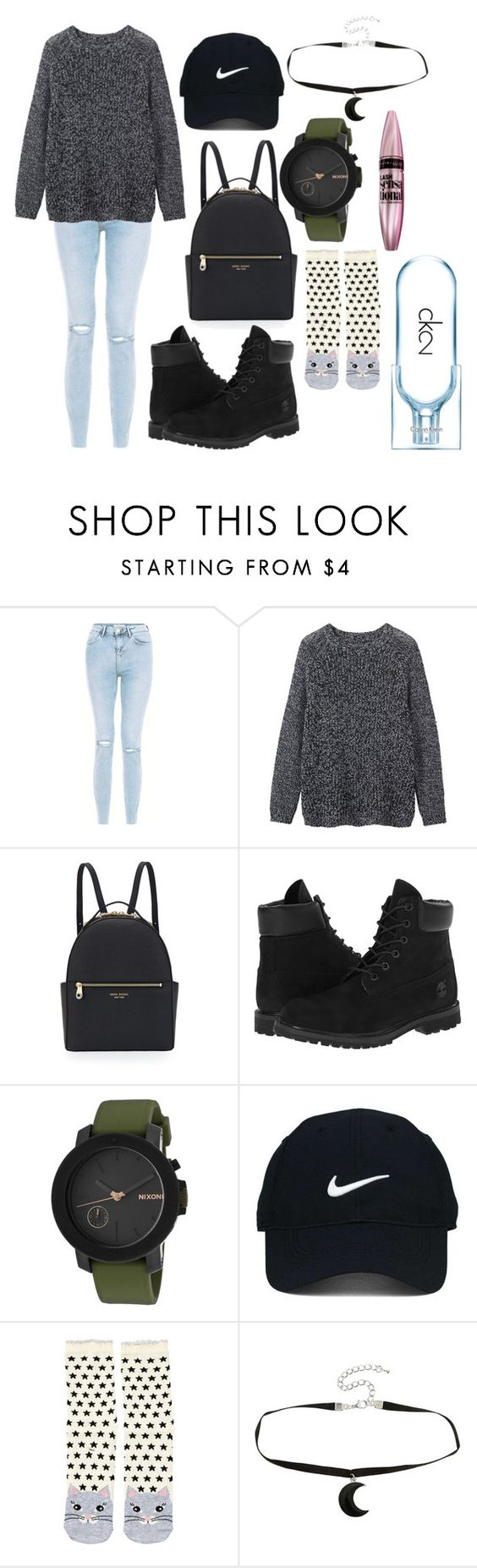"""A"" by hannahjerao on Polyvore featuring Toast, Henri Bendel, Timberland, Nixon, Nike Golf, Accessorize, Calvin Klein and Maybelline"
