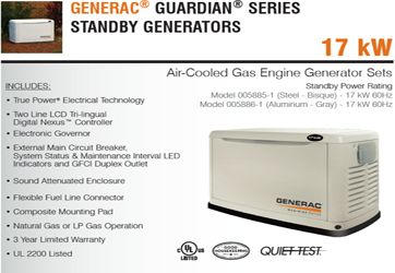 Generac Guardian Series Standby Generators Details from Gray Electric of Mauston and Tomah WI