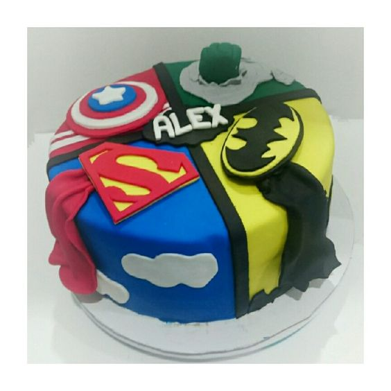 Superhero fondant cake for a 5 yr old