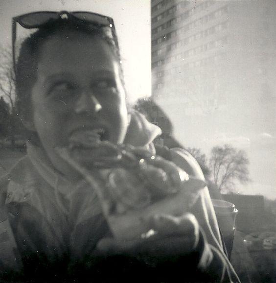 """Sam Loves Pizza"" Minneapolis, MN - 2010   * Black and White *  Holga Film Camera *  Deb Carneol Original"