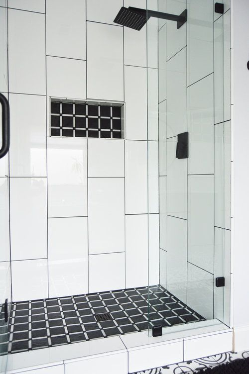 Polished 12x24 Vertical Brick Pattern Wall Tile With A Modern Slate Mosaic For The Shower Floor Modern Bathroom Renovations Shower Wall Tile Large Shower Tile