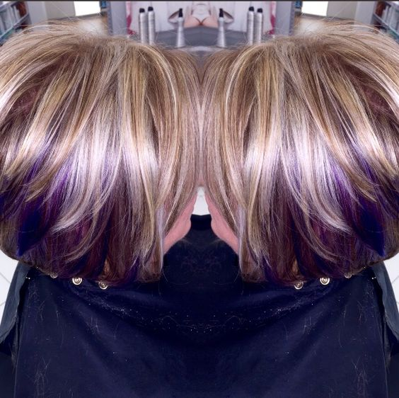 Blonde Hair With Brown Highlights And Purple Peek A Boos