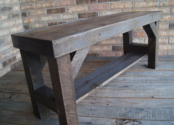 Rustic Bench, Solid Wood Fully Reclaimed Rustic Bench.  One of a kind. $99.00, via Etsy.