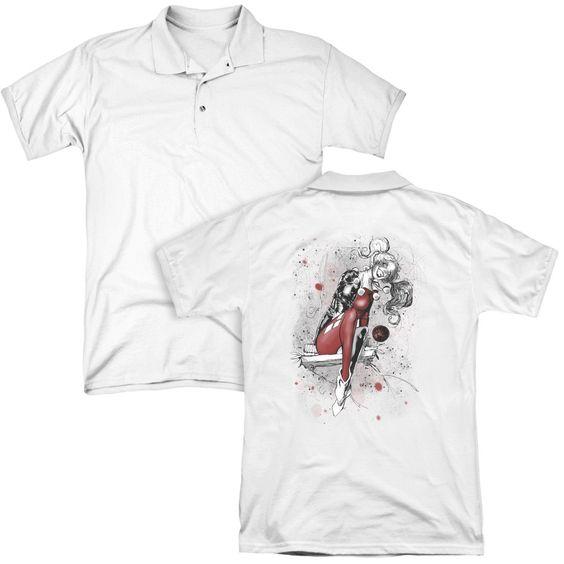 Jla - Harley Sketch (back Print Adult Polo Shirt