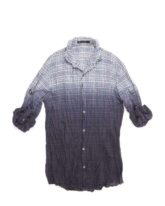 Ombre Short Sleeve Shirt Navy