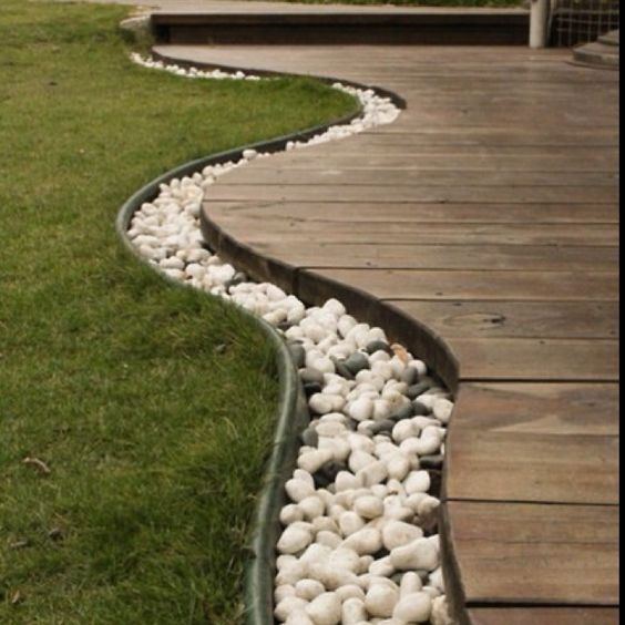 Walkways decking and curves on pinterest for Pool garden edging
