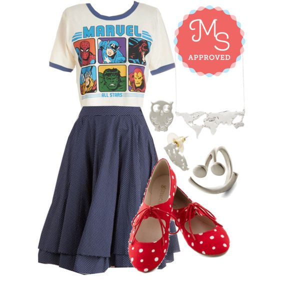 """Super Comical Pals Tee"" by modcloth on Polyvore"