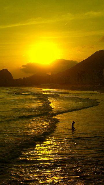 Copacabana beach - sunset wave amazing