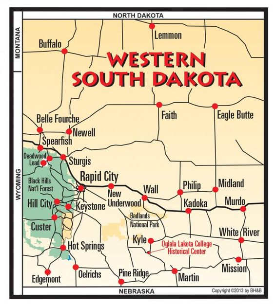 Western South Dakota  Black Hills Maps  Pinterest