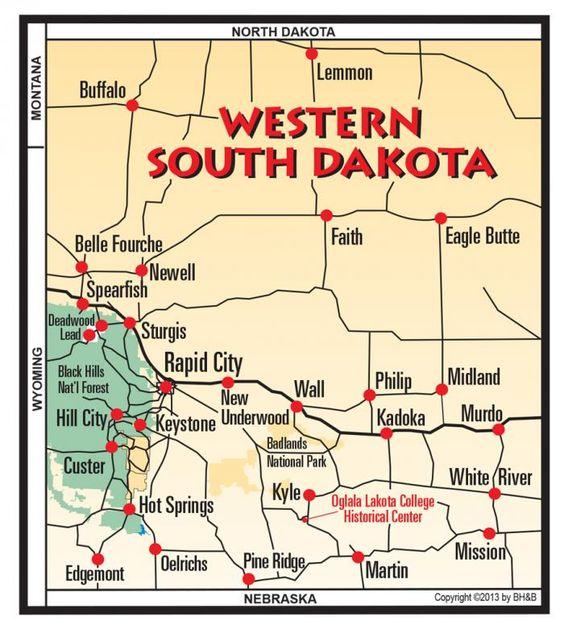 Western South Dakota  Black Hills Maps  Pinterest