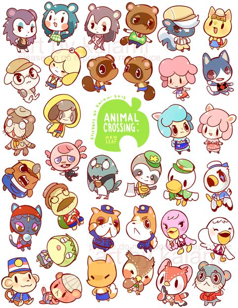 Animal Crossing sticker sheet includes 35 npcs that appear in New Leaf. Each sheet is 8.5x11 and are not precut.