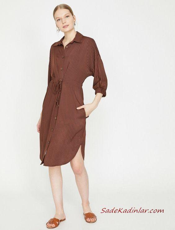 2019 Yazlik Elbise Modelleri Koton Kahverengi Dizboyu Cizgili Dugmeli Elbise Modelleri Elbise Moda Stilleri