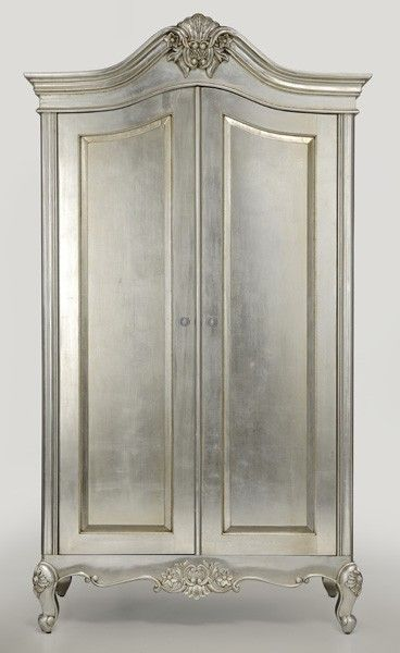 Cristal French Silver Leaf 2 Door Wardrobe: