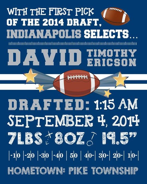Football Wall Art Birth Announcement Personalized Sports Nursery – Birth Announcements Indianapolis