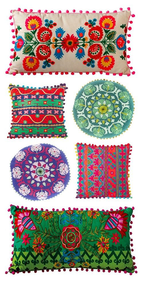 Fun and colorful Mexican Style pillows from Dot & Bo