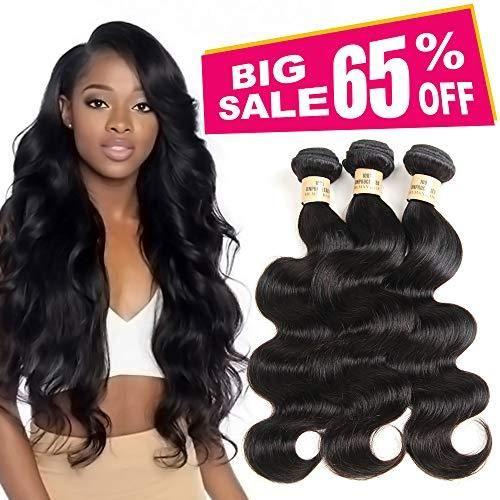 Amazon Com 3 Bundles Deal Brazilian Human Hair Body Wave Hair Bundles Cheap Brazilian Wavy Hair Weave 100 Human Hair Extensions 8a Grade Natural Black Color 10 12 14 Inch Beauty Body