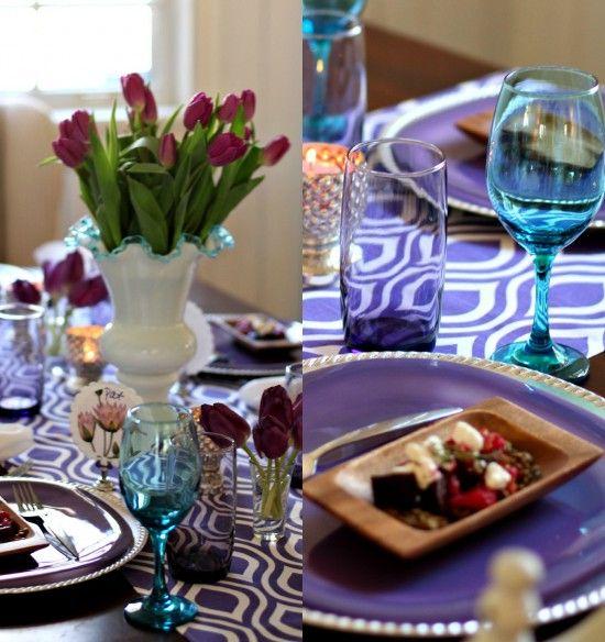 Purple tulip centerpiece for a purple & aqua spring luncheon Mary Lillie Memory Club Luncheon – A Pretty Purple Celebration: