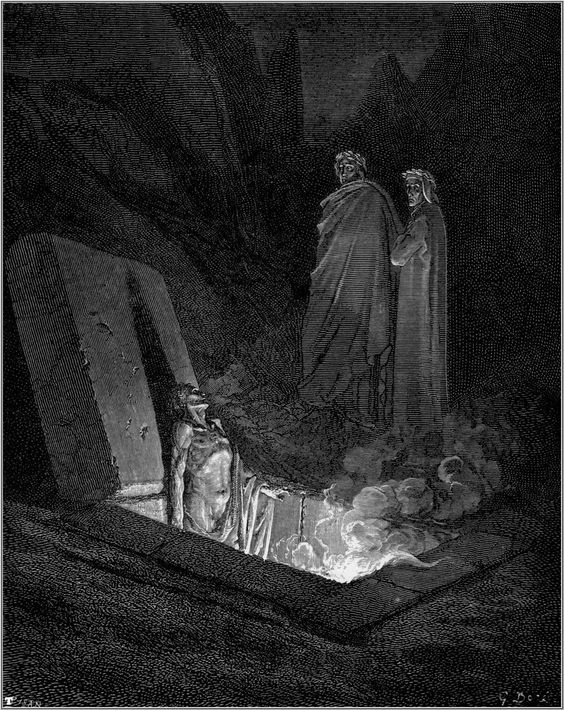 "Dante and Virgil before Farinata by Gustave Doré (1890), illustration from Dante's ""The Divine Comedy"""