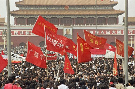 China Pro Democracy Movement 1989 A sea of red flags fly above students during a pro-reform demonstration on May 4, 1989 in Beijing's Tiananmen Square. (AP Photo)