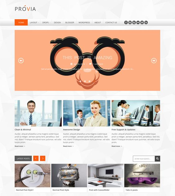 This portfolio Blogger template has Ajax pagination, support for shortcodes, a responsive layout, automatic thumbnail creation, easy color, font, and background customization, and more.