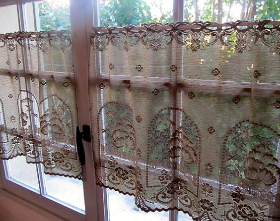 Brown Lace Cafe Curtains, Mocha Kitchen Lace Curtains, Coffee ...