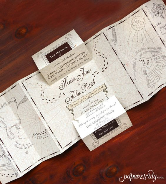 This enchanting map takes you through the fantastic adventure of the betrothed couple's proposal story. Wedding event details lie within a secret folded chamber in the back of this extraordinarily unique wedding invitation! Measures approx 8.6″ x 22″ open, 8.6″ x 5.5″ folded. Pairs with an acceptance letter themed reply card.  Love it, but on a budget? See the No-Story option for this design! https://www.etsy.com/listing/231063953/romance-managed-no-story-version-harry?ref=shop_home_active_8…