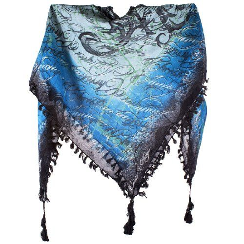 Christian Audigier Logo Butterfly 40x40 Cotton Scarf -Blue  List Price: $126.00 Buy Now: $19.99