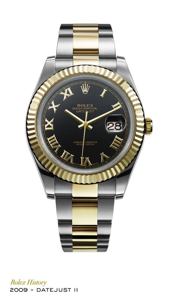 A larger version of the Datejust in a bigger case, the Rolex Datejust II was introduced in 2009 in a Rolesor version with a fluted bezel. Its new movement features a Parachrom hairspring and Paraflex shock absorbers.