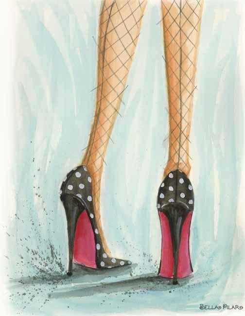 © Bella Pilar - drawing of polka dot shoes ♥