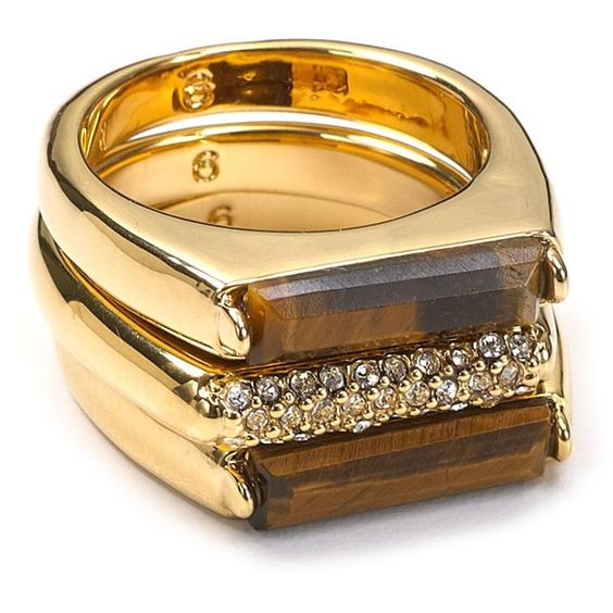 Love. MICHAEL Michael Kors Tigers Eye and Pavé Bar Stackable Rings
