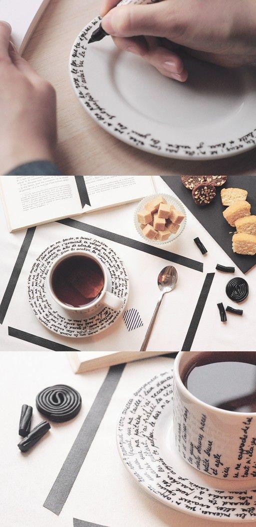 C'est l'heure du thé ! DIY pour décorer tasse et sous-tasse.