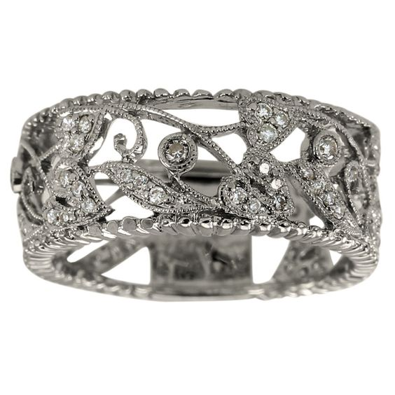 Vintage Engraved Diamond Wedding Band With Milgrain Detail: Diamond Wedding Bands, Gold Filigree And Antique Wedding