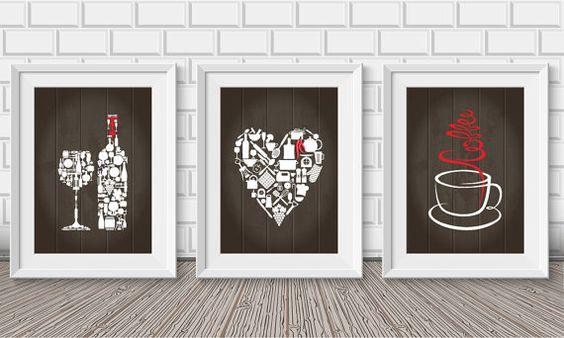 Kitchen decor - Kitchen wall art - Kitchen prints - Kitchen art - Kitchen art set - Kitchen poster - Housewarming gift - Kitchen - Set of 3