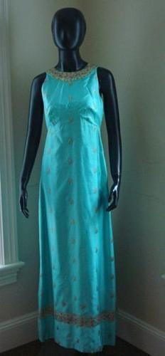 TINA LESER original aqua silk sari gown
