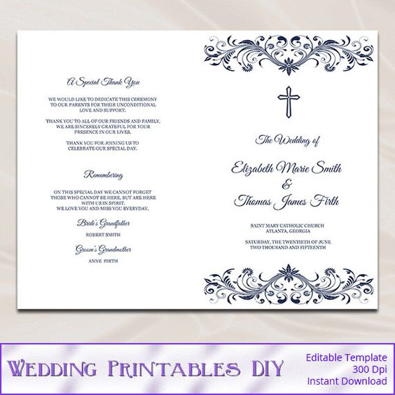 Catholic Wedding Program Template, Diy Navy Blue Cross Ceremony - booklet template word