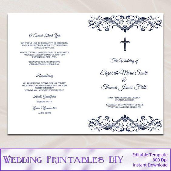 Catholic Wedding Program Template, Diy Navy Blue Cross Ceremony - booklet template word