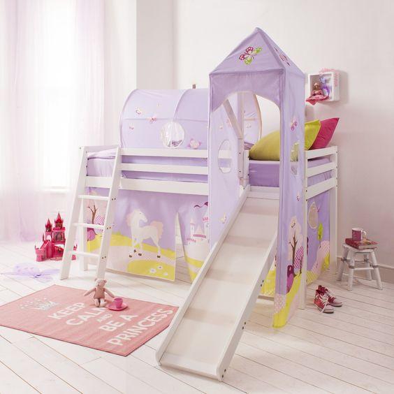 6970 wg fairytale lit cabane mi hauteur avec tour et tente motif princesse de conte de f e blanc. Black Bedroom Furniture Sets. Home Design Ideas