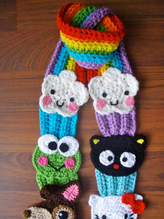 hello kitty and friends cupcake rainbow scarf pattern