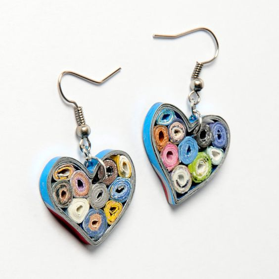 Paper quilling earrings Heart shape by NavehsUpcycledDesign