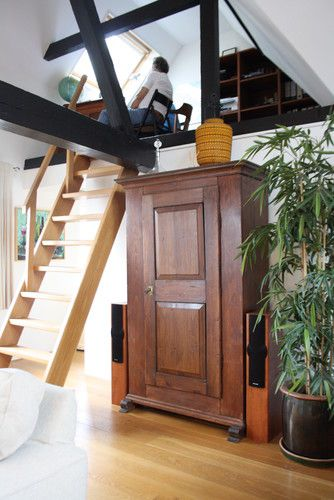 Loft loft ladders and big plants on pinterest - Ladders for decorating stairs ...