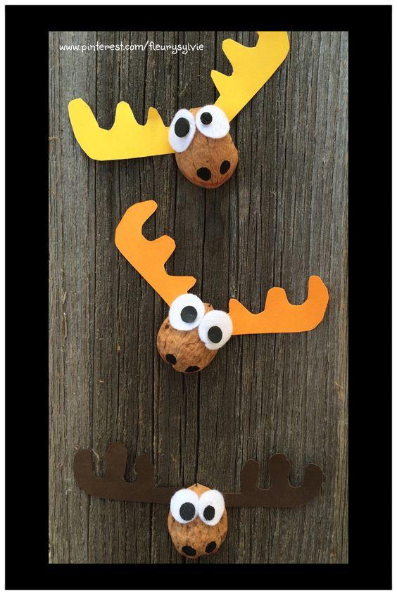 Cerfs coquilles de noix bricolage avec les enfants http pinter - Pinterest bricolage noel ...